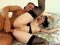 Milka enjoys the brutal fuck she's getting from these two guys. They cum in her ass hole and she pushes the cum out.