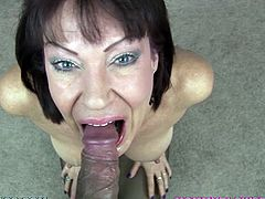 Slutty brunette mom Vanessa Videl strips and shows her ass to the man. Then she kneels in front of him and sucks his dick till it fills her mouth with jizz.