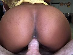 Slim ebony girl gets her pussy licked and fingered. After that she gets fucked in a cowgirl and doggystyle poses by a White dude.