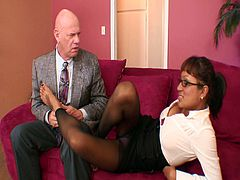 Jasmen Lopez is a really attractive secretary with big boobs. She helps her bald boss to get offer by giving him a footjob and by taking his cock in her filthy cunt.