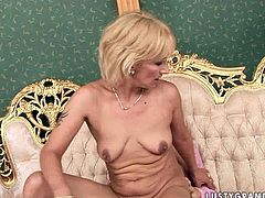 This young stud is dressed to impress! Sex-starved dude in pink fishnet stockings is willing to do whatever it takes to impress this horny mature woman. He fucks her fanny in sideways position and then he lets her worship his ass. A bit later he fucks her twat missionary style just the way she likes it.