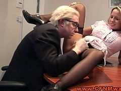 Check out these horny femdom sluts demanding oral sex from an older guy. They want to spread their legs wide and get eaten!