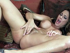 Amazing beauty likes to amaze with her superb forms during top solo masturbation show