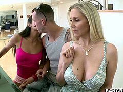 Horn made blond mature and fresh faced brunette amateur seduces a beefy young dude during a joint playing the piano. They release his hard cock from jeans before sucking it in turns in sizzling hot FFM sex video by Bang Bros Network.