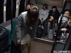 Momo Ogura has had a long day at school. On the bus ride home she has a man behind her rub her shoulders. This gets her horny and she slides her hands into her panties. She takes her new friend to the bathroom where they fuck like wild.