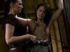 21 Sextury xxx clip provides you with a steamy bondage session. Spoiled booty brunette with natural tits stands all naked. This gal is tied up with ropes. The other nympho smacks her ass and puts some metal stuff onto her tities.