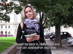 When you find such a blonde beauty on the streets that deserves to be paid you just go for it! Czech beauty Blanka takes my offer as I give her some serious cash for her body. She's a greedy bitch that accepts to get naked and more for cash. I'm not paying her for love, I'm doing it for something better!