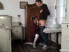 Sexy brunette milf Alice Romain is having a good time with a horny dude. She sucks his hard cock hungrily and then welcomes it in her tight butt.