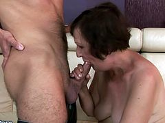 Kinky pale and obese mature slut is ready to suck a strong hot cock. Spoiled bitch with huge ass and saggy ugly tits desires also to ride this dick to reach orgasm. Check out spoiled fatso with wrinkled face in 21 Sextury xxx clip to jerk off and jizz at once.