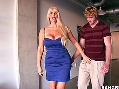 A slutty-ass milf sucks on a hard cock and then gets her gash stuffed, hit play and enjoy this kick-ass hardcore scene!!!