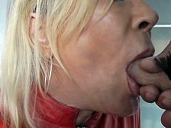 slut leather shemale swallow leather man