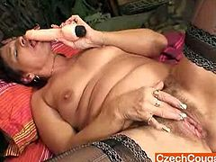 Courtesy of Czech Cougars you can see a nasty Amateur brunette mature as she plays with her cunt while wearing black stockings. Then she's ready to bring out her dildo.