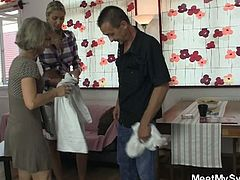 Watch a cute blonde slut getting perverted by her boyfriend's in-laws. After playing with the vicious mature, she's ready to ride an experienced cock. When her boyfriend arrives, his parents continue their own private party as she gives him a welcoming blowjob!