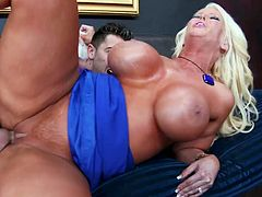 Seth Gamble has come over his friend's house. While waiting, friend's mom seduced him for sex. Seth surely would bang sexy mom with pleasure. So he drills her cunt deep and rough.