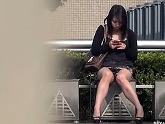 "On the streets, Miyuu goes about her business, but feels an urge that needs her attention. This Sexjapantv.com model finally stops at a set of seats to help herself; don't mind the others around, the will ""cum"" and go, as will she. Spreading her legs, she puts in a finger and begins to wiggle. As she cums, and twitches, Miyuu sits for a minute, then goes back in for more. Looking for a more secluded spot, she finds a more appropriate area to take care of herself. Anyone else enjoy the sign to her right? ""No men"" allowed seems rather fitting for her kind of play today. As she removes her pantie"