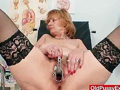 During the gynecological examination where a kinky doctor check spoiled beaver of red-haired granny using his fingers and speculum, she gets aroused.This old lady in stockings Kvetuse gets her cunt examined by a nasty old gyno doctor with a speculum in this hot free tube video.