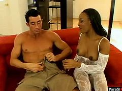Are you ready to cum all over the place? Then press play and enjoy this booty ebony nympho in sexy white lingerie. Voluptuous black chick demonstrates her big ass and kneels down to suck white dude's dick for sperm.