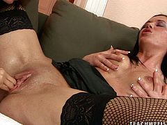 Provocative bitch Clarisse is toy fucked until she reaches orgasm. She squeezes her tits convulsing in orgasmic climax. Then she gets her throbbing pussy fisted.