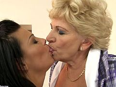 Blond haired mature bitch with huge ass and saggy tits wears only stockings. She spreads her plump legs wide and young brunette with nice rounded butt licks her mature wet cunt passionately.