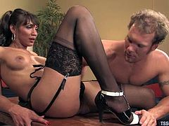 The illusion blinds Rocky and he has no other desire by to get fucked by Yasmin Lee. So she gives him a nice blowjob and then fucks him in asshole!