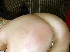 Horny dude goes nuts tonight. He ties up submissive buxom blondie with ropes and makes her bend over. Then spoiled man polishes her wet pussy with a carrot causing her loud moans of delight.