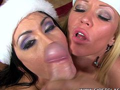 Alluring babes are sharing their large dick during top RPG oral scene