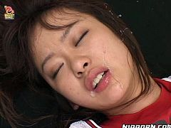 Naive Japanese amateur moans with pleasure and clothes her eyes while an insatiable bald dad pokes her hairy snatch in doggy and missionary styles.