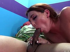Hot babes Noelle Easton and Savannah Fox with natural tits and stockings get licked in their wet pussies and fuck in this awesome threesome.