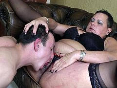 Fat whore Viona sucks cock like it's nothing. She craves for a big piece of meat between her lips and a tongue between her pussy lips. Look at her enjoying herself with this much younger and thinner guy. Yeah, her fat pussy needs a serious fuck and he's the right guy to give her that! Enjoy