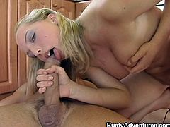 Blonde hussy Victoria is having fun with some dude in the kitchen. She gives him a great blowjob and then they have anal sex in the reverse cowgirl position on the floor.