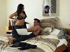 The guy was on the bed at his laptop. His beautiful brunette wanted some attention and using her naughty moves and sexy body she receives it. The dark haired slut showed him her breasts and that hot booty. She then proved him how good she is at sucking cock and formed a 69 with him before going on top.