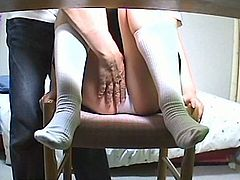 Horny japanese tutor had fun with his shy student
