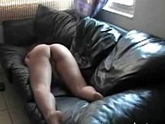 39 years housewife. Secret spy movie. Dildoing on the leather sofa. Nice view on her ass. Also spy movies of her together with her lover.