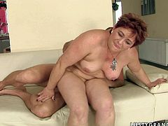 Ardent red-haired mature BBW rides a stiff cock of aroused dad reverse before she lies in sideways pose for a hard fuck of her fat stinky vagina from behind.