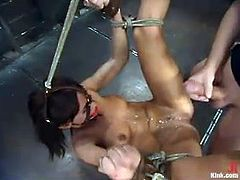 The naughty slut Holly Wellin is going to get dominated in this bondage session packed with rough hardcore sex.