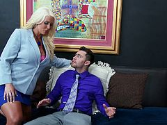 Horny mom with big boobs and fat rounded booty seduces young stud for hardcore sex. Seth Gamble has always been dreaming of banging friend's mom and finally he's got to realize the dream in reality. Watch horny mommy sucking hard dick deepthroat. Then she rides hard stick upskirt like crazy. It seems like this cougar has been missing sex for long so now she goes nuts.