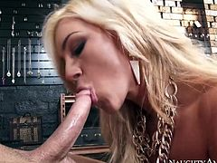 Skanky blonde wench Cameron Dee gives a head to Seth Gamble and rides his dong intensively