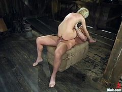 Kimberly Kane is the blonde getting a hardcore domination and bondage fuck where she's tied up and banged hard.