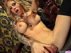 Gorgeous blonde with staggering forms poses during one superb solo masturbation scene