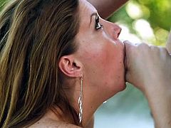 Only big hard cocks make this bitch happy. The harder and rougher the mouth fuck is, the better she feels! This lucky guy was relaxing in the backyard with her, when suddenly she felt horny and went down for his dick. The whore sucked it with a lot of saliva and deserves a big load of cum, for what she did