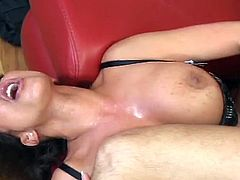 Busty mom Ava Devine drilled hard in her wet pussy. She teases every man with huge cock with her sexy moves as she strips down to her stockings. Her massive boobs are also for grabs.
