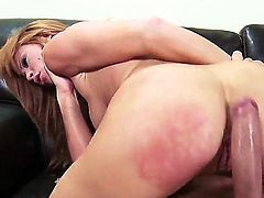 Wild turned on brunette whore Brooklyn Lee with hot body and cheep heavy make up in stockings and high heels fingers round ass while Kerian Lee pounds her wet minge.