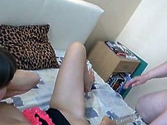 Chubby granny using double dildo with gf