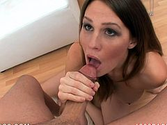 Big-breasted brown-haired chick Allison Moore shows her hot body to some guy and begins to suck his dick. She does it remarcably well and gets a facial cumshot in the end.