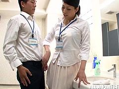 Two horny doctors are doing some naughty and dirty work in the hospital. The bitch bends over in front of her doc and he rips her pantyhose before eating her ass. Then, the hot Japanese brunette kneels and gives his cock a mean lick. Seems that doc's get dirty too!