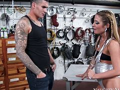 Lusty bitch in sassy outfit having many tats on her body is going naughty in the shop. She seduces the guy and suck his dick deepthroat.