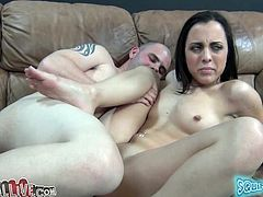 Tattooed slut is sucking that hard cock before she seats on that thing for nasty and wild ride, this dude asks her to jerk his cock with her feet.