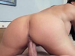 Black haired cheating milf Diamond Foxxx with big fake tits and red nails seduces young pussy licking Jessy Jones and makes him fuck her like there is no tomorrow all over bedroom.