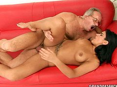 Kinky brunette babe with seductive appeal love experienced men. So she seduces one and fucks him bad. Watch her riding hard stick vigorously before getting rammed deep in her cunt from behind in doggy sex position.