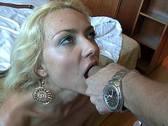 Blonde beauty fucks hard and gets filled in jizz during top facial scene